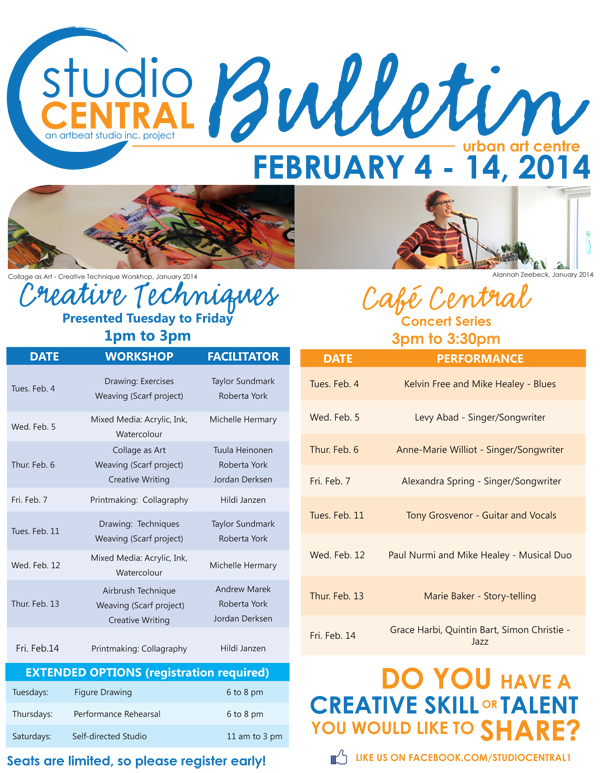 Studio Central Bulletin Feb 4 - 14 2014