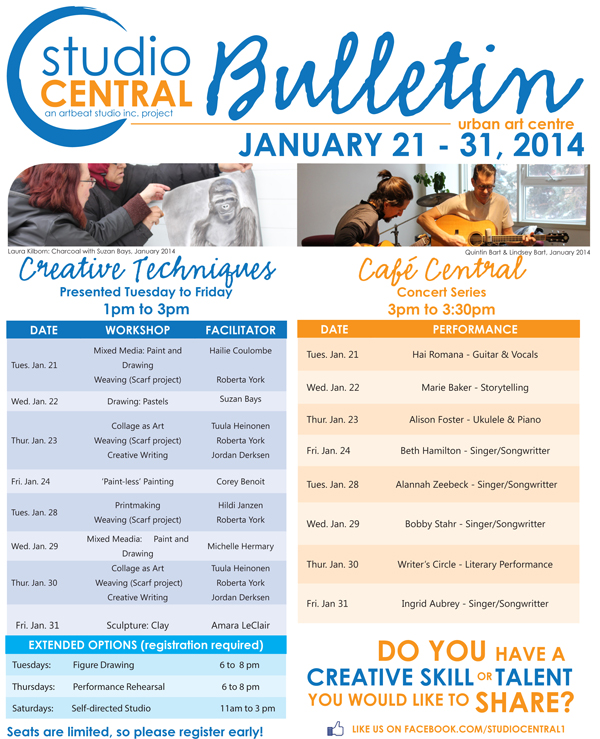 Studio Central Bulletin January21-31, 2014