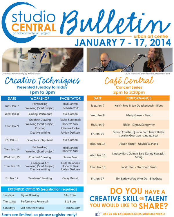 Studio Central Bulletin_Jan7-17, 2014