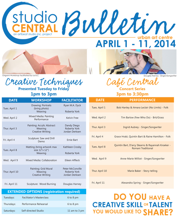 Studio Central Bulletin April 1 - 11 2014