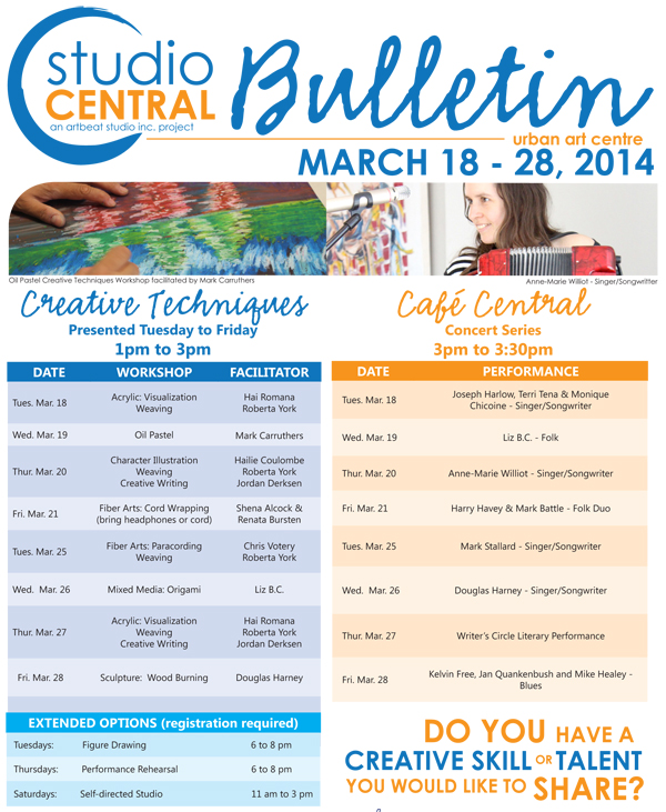 Studio Central Bulletin March18-28 2014