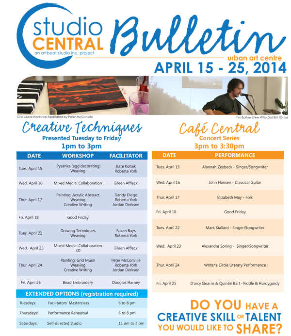 Studio Central Bulletin April 15- 25 2014