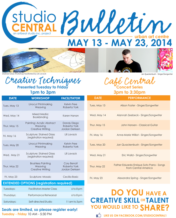 Studio Central Bulletin may 13 - May 23 2014
