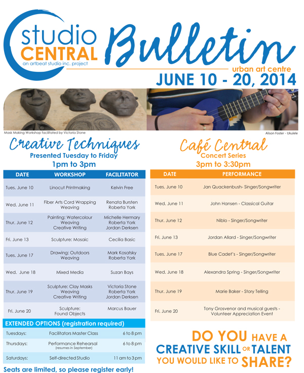 Studio Central Bulletin June 10-20_2014