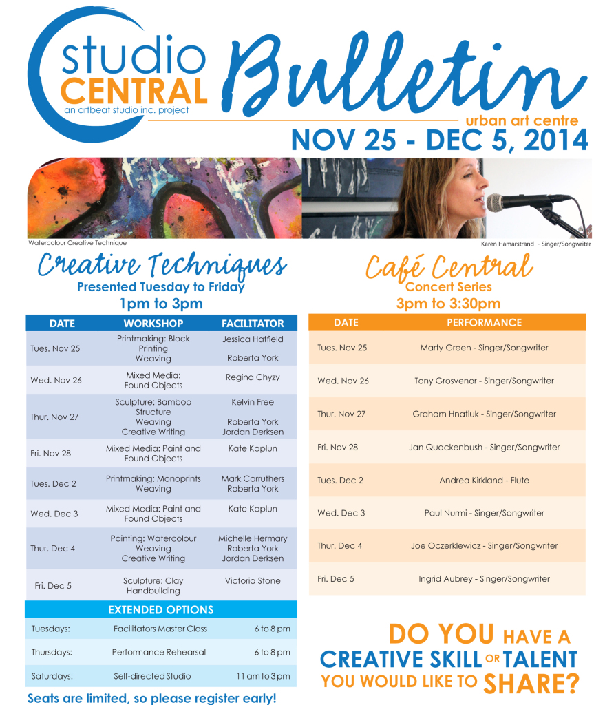 Studio Central Bulletin Nov 25-Dec 5,2014