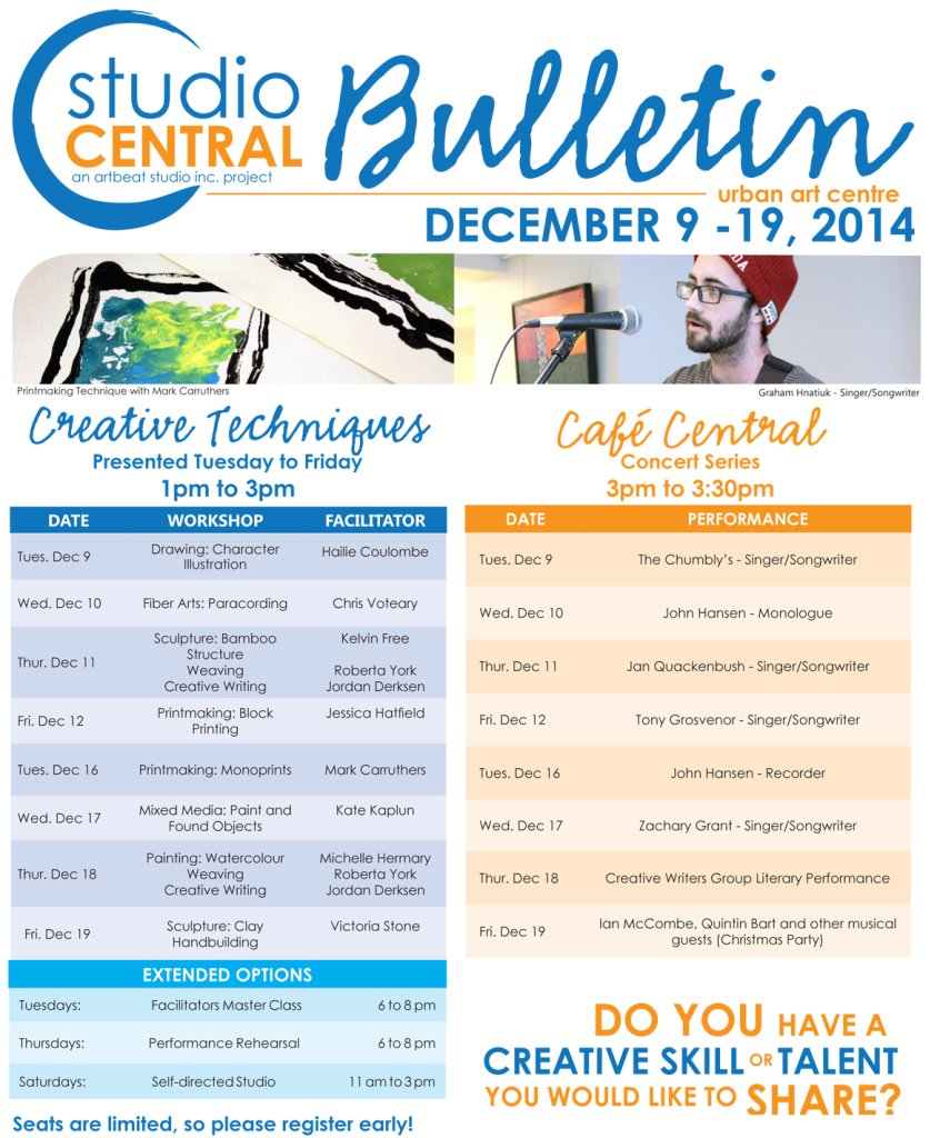 Studio Central Bulletin Dec 9-19,2014