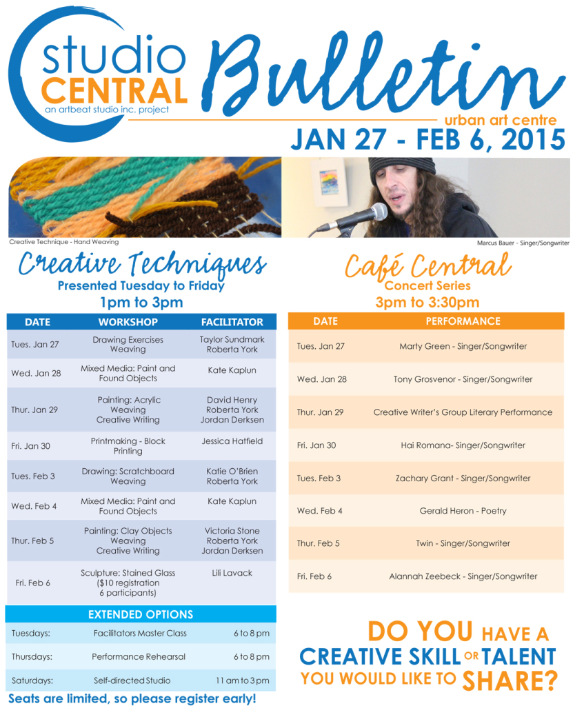 Studio Central Bulletin Jan 27-Feb 6, 2015