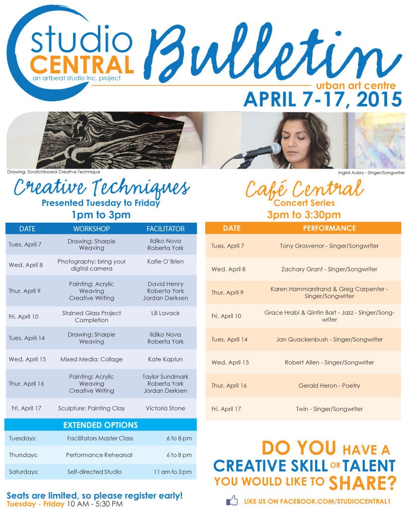 Studio Central Bulletin April 7-17, 2015