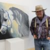 'Diamond' Doug Keith shows a painting of an Arabian horse he created as a gift for his therapist.