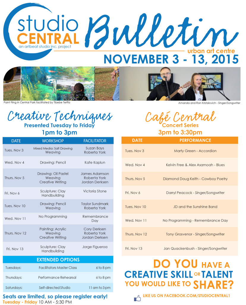 Studio Central Bulletin Nov 3 - 13, 2015