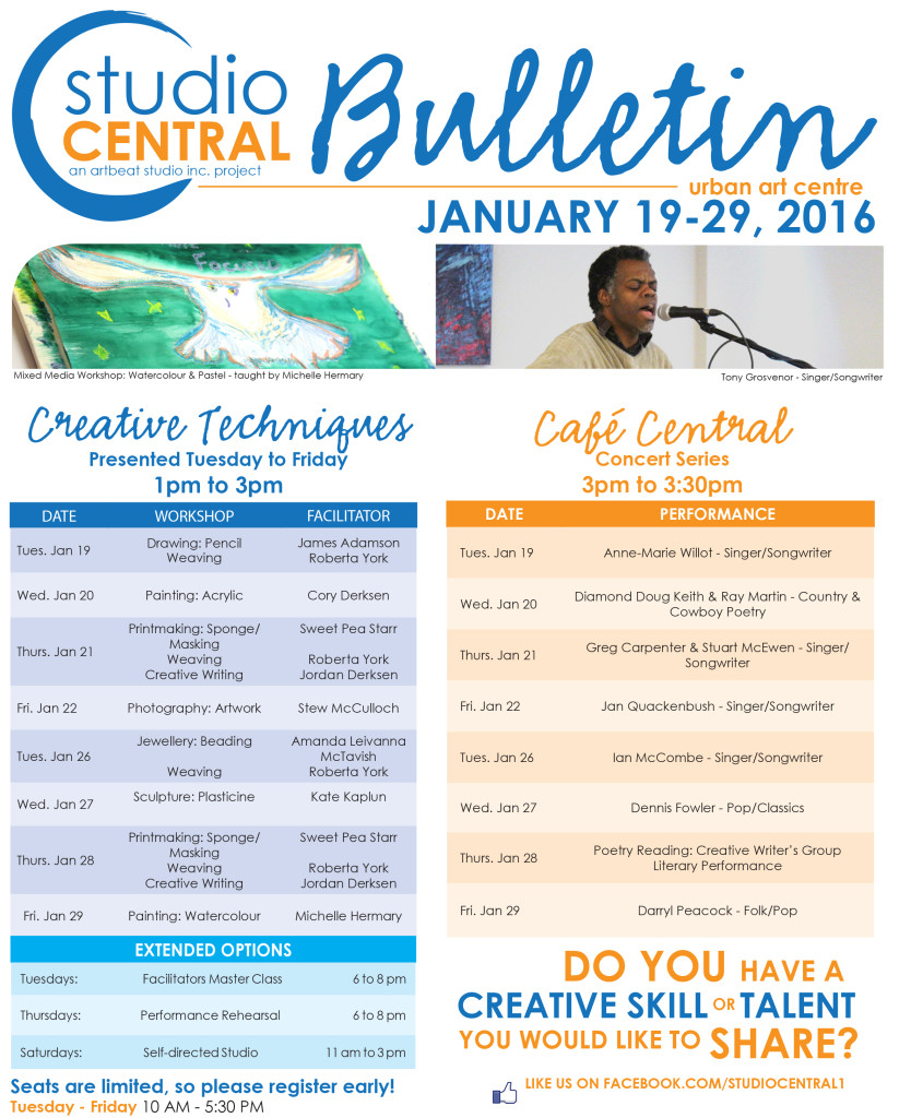 Studio Central Bulletin Jan 19-29, 2016