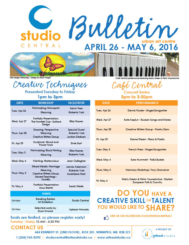 Studio Central April 26 - May 6 2016