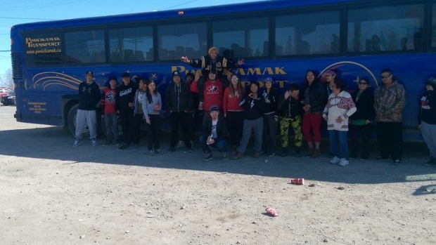 Pimicikamak youth arrived in Thompson, Man., on Wednesday for a suicide prevention forum. (Courtesy of Mervin McLeod)