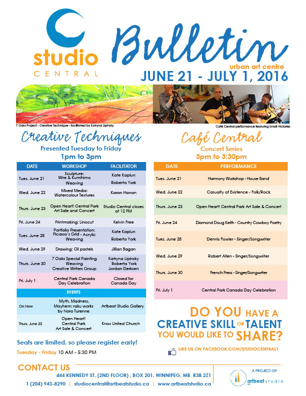 Studio Central June 21 - July 1, 2016