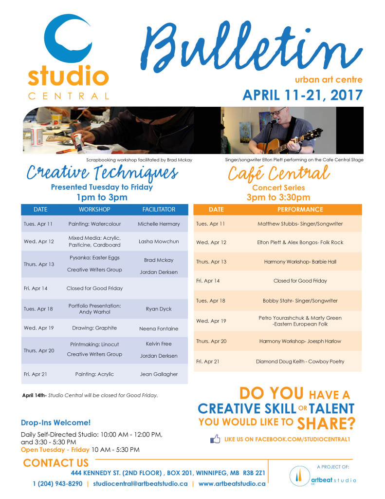 Studio Central- Apr 11-21, 2017 small