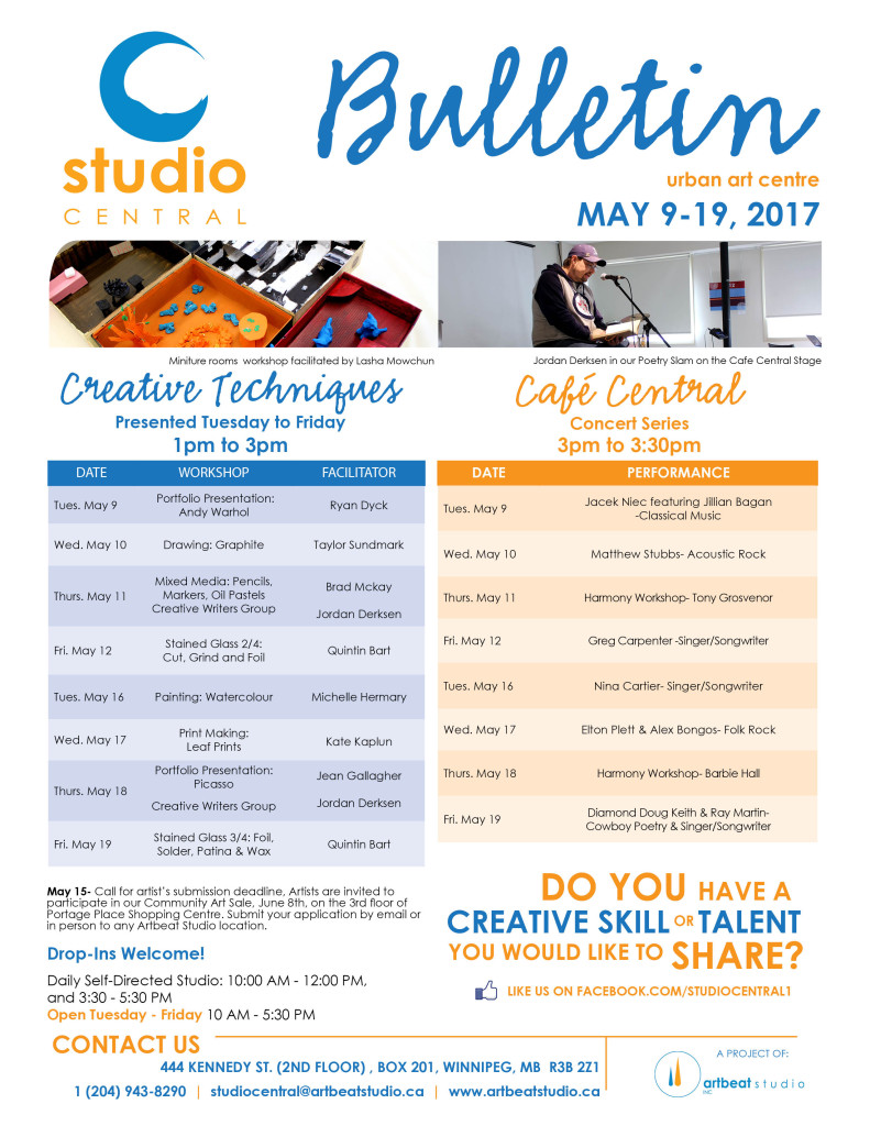 Studio Central- May 9-19, 2017 small