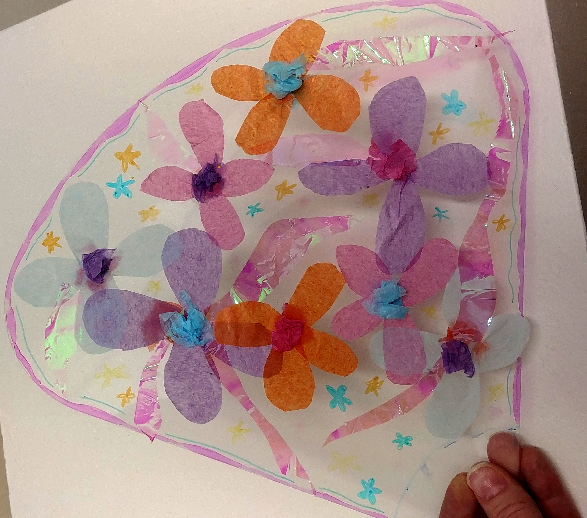 Flower petal decorated with tissue